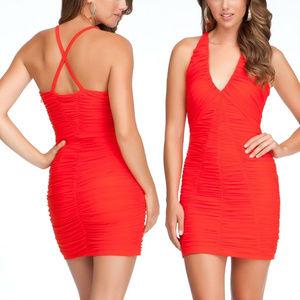 bebe red v neck straps cross back ruched dress L